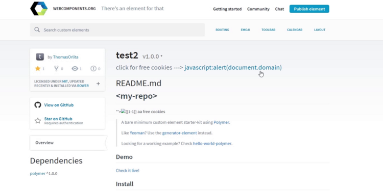 Liking GitHub repositories on behalf of other users — Stored