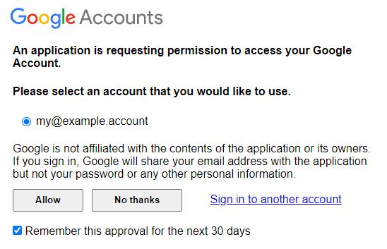 Google Accounts login screen
